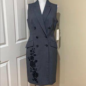 Calvin Klein's grey wrap dress w/floral print sz 4